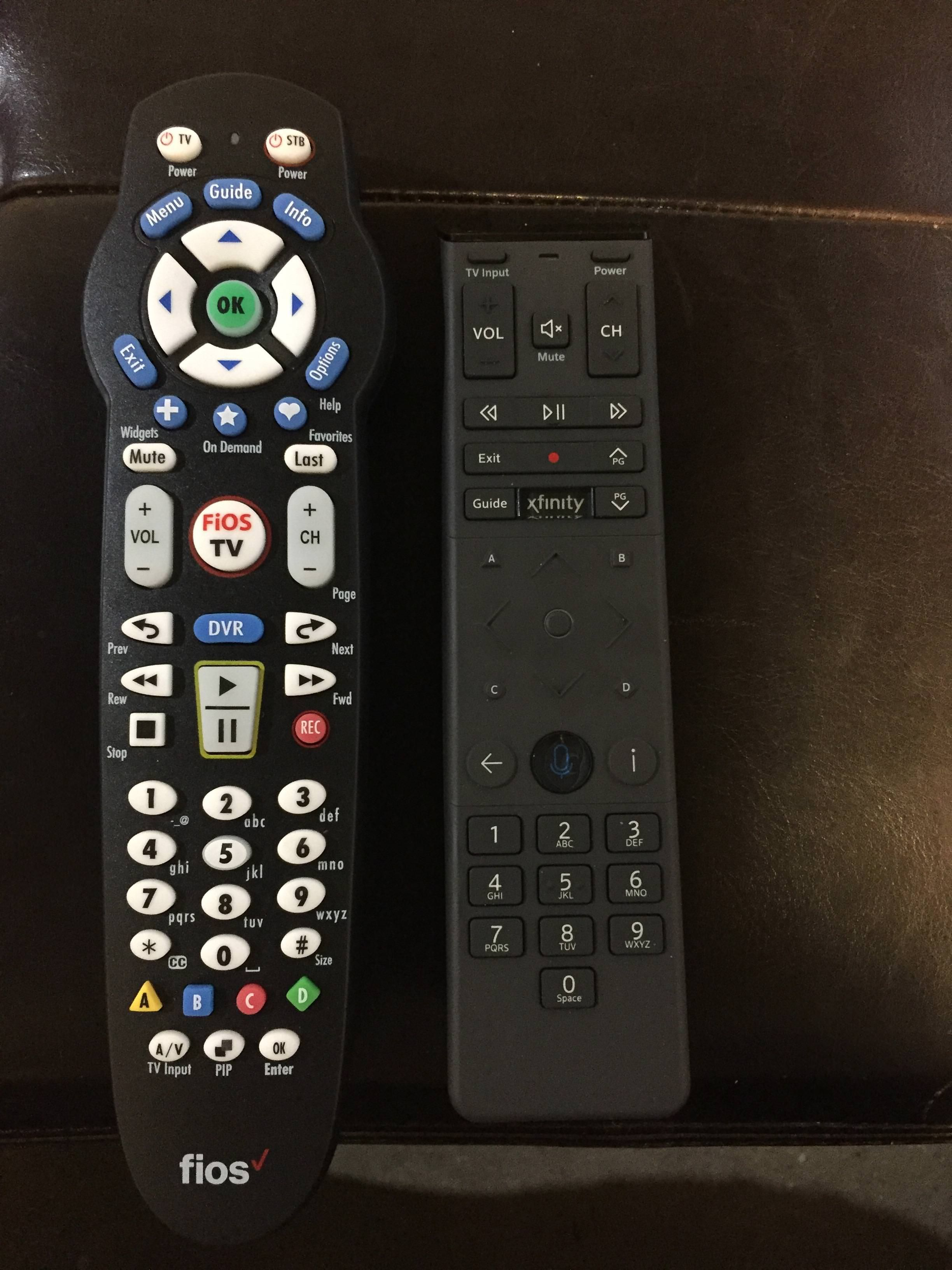 Difference between Verizon FiOS & Comcast XFinity remotes (Spring