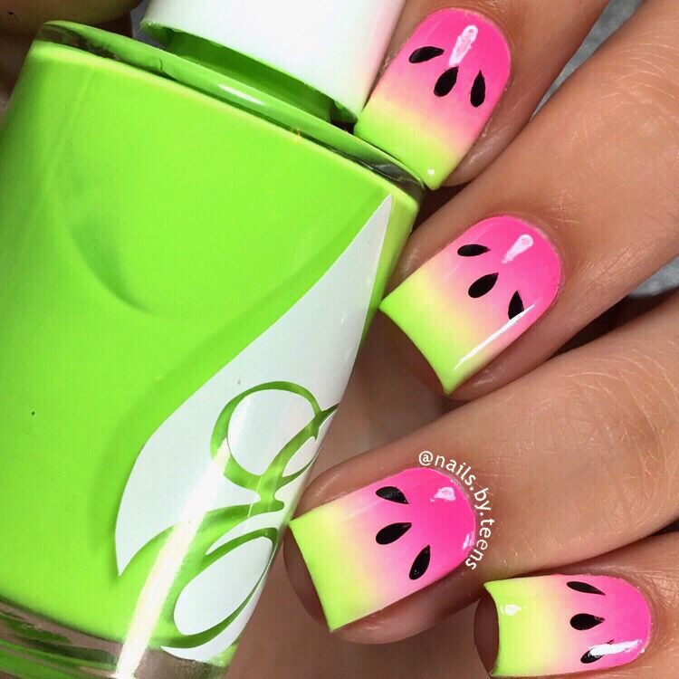 Watermelon nails | Beauty | Pinterest | Malu