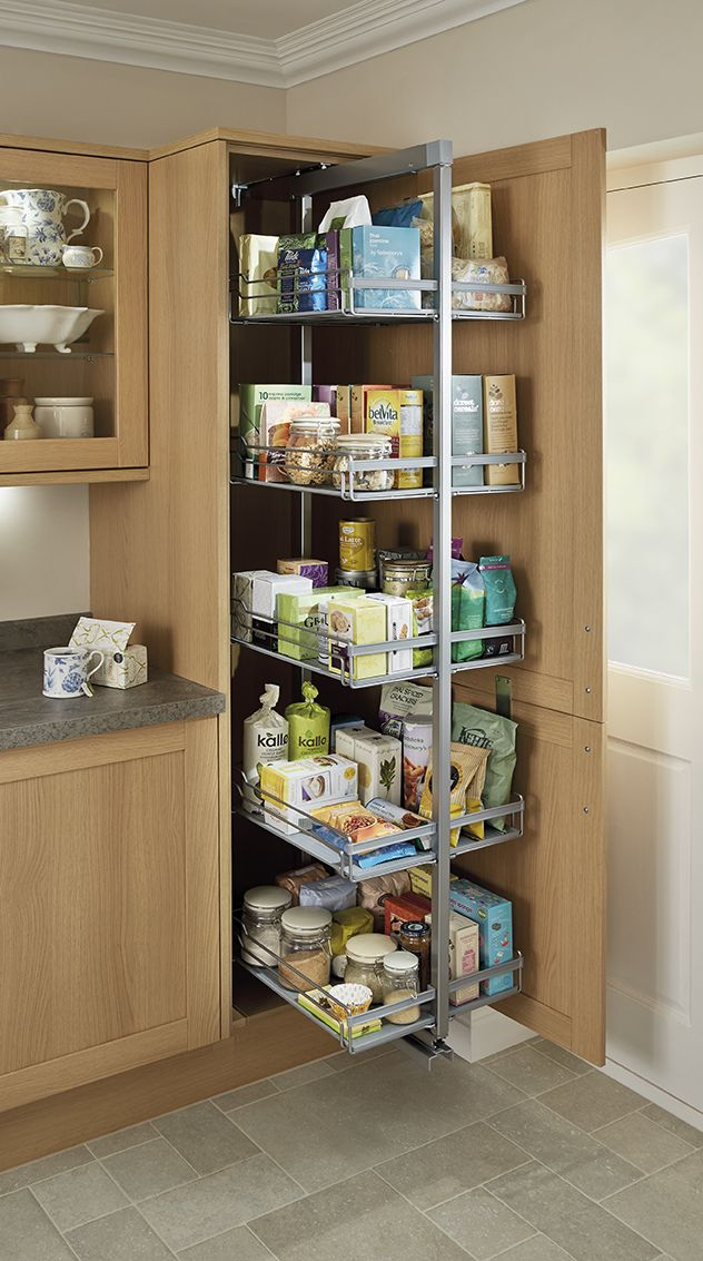 A Great Storage System With Our Pull Out Larder Unit In The Shaker Style Light Oak Kitch Kitchen Pantry Design Modern Kitchen Design Kitchen Inspiration Design