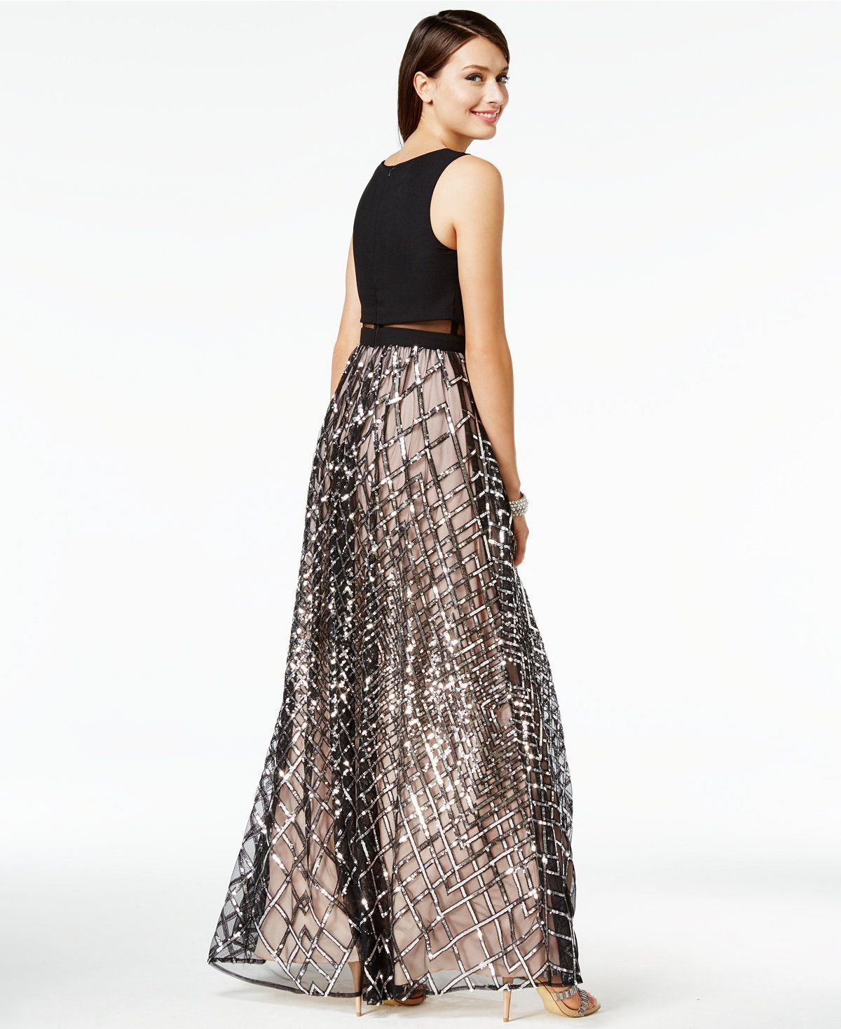 1f1794875 Say Yes to the Prom Juniors' Sequined Illusion Popover Gown, A Macy's  Exclusive - Juniors Dresses - Macy's