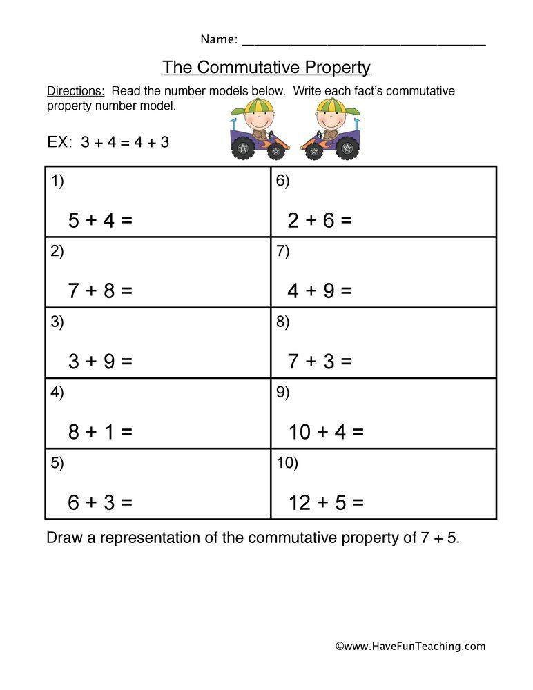 Commutative Property Addition Worksheet Commutative Property Properties Of Addition Properties Of Addition Worksheets Properties of addition worksheets