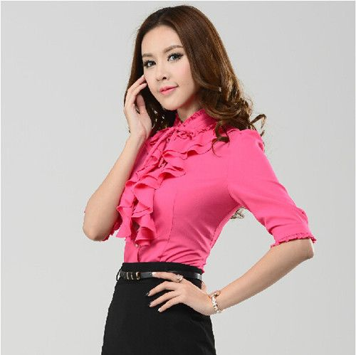 NEW Fashion 2014 Autumn stand collar Long Sleeve ruffles elegant Chiffon Blouses Women work wear plus size shirt Tops Solid XXXL-inBlouses & Shirts from Apparel & Accessories on Aliexpress.com | Alibaba Group
