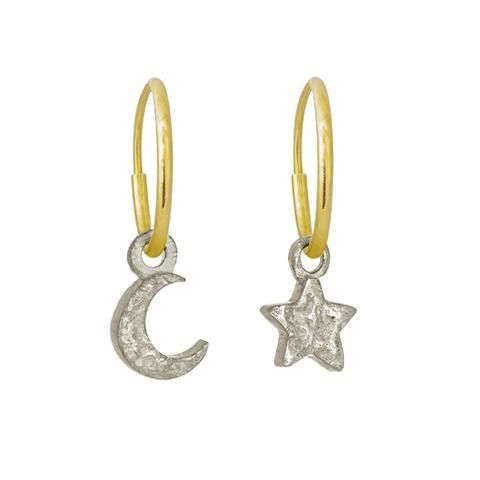 12f805463 Tiny Center Star + Moon Mismatch Earring Pair by #LeeBrevard. Offered here  in a