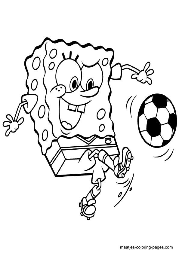 SpongeBob SquarePants playing soccer | Soccer Coloring Pages ...