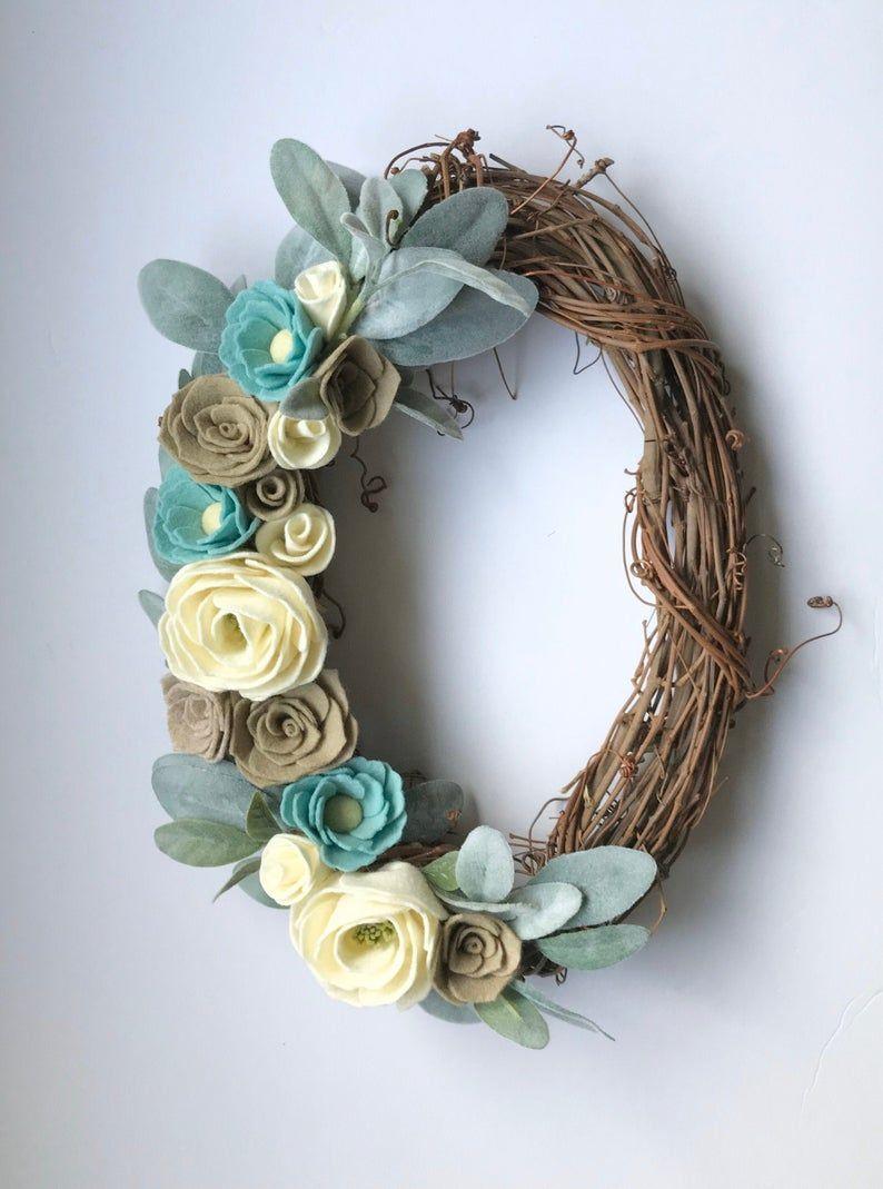Photo of Unique felt flower grapevine wreath, oval grapevine wreath for front door, felt flower decor,…