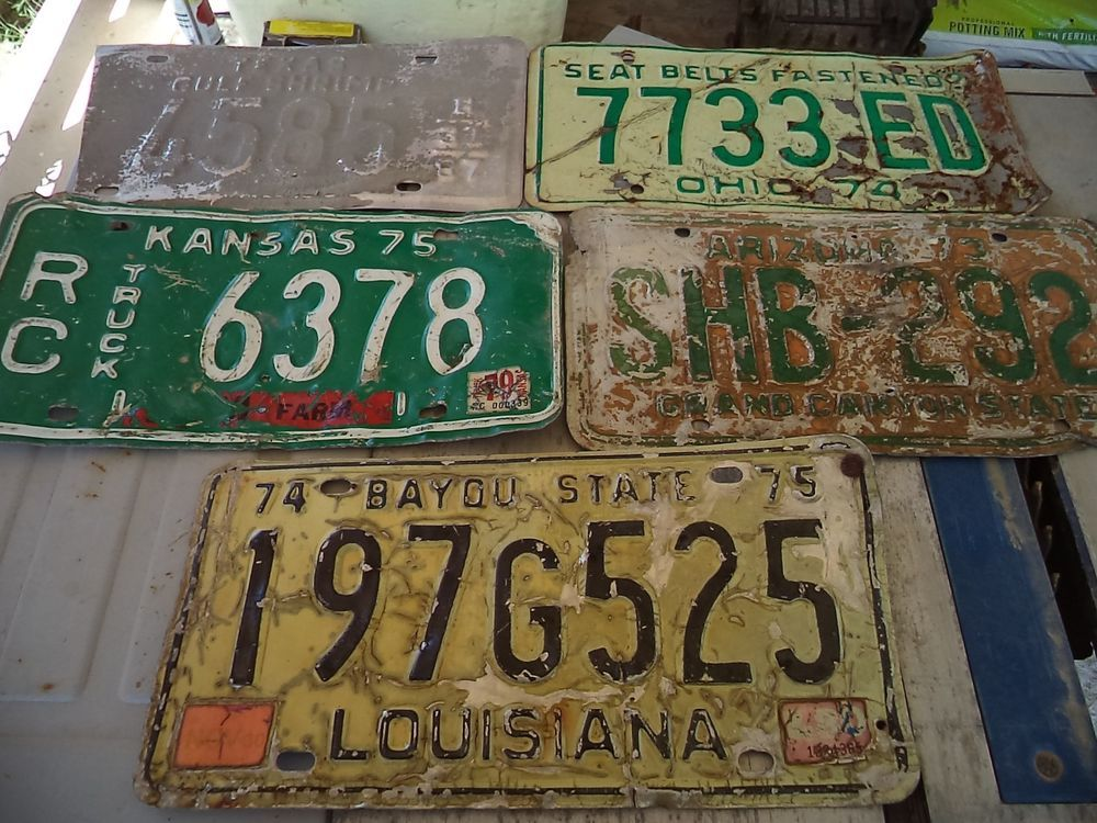 Lot of 5 Original Vintage Mixed License Plates 1970\'s Vehicle ...