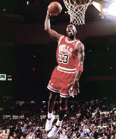 sMJ...I saw him dunk a ball in college pre-replay boards and ESPN so we had to wait for it on Geo Michael Sports Machine....