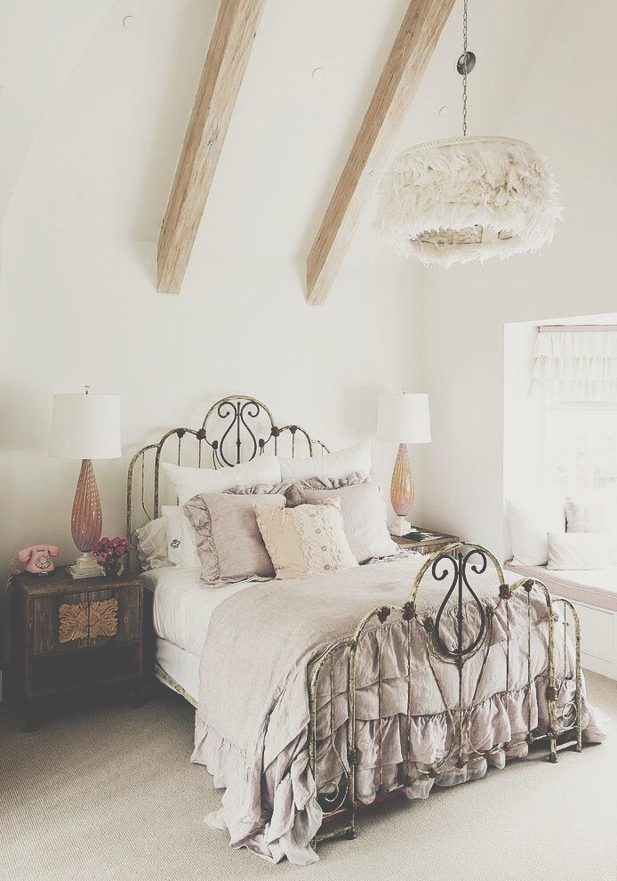 wrought iron bed + gray with antique. Wood dresser | My Perfect ...