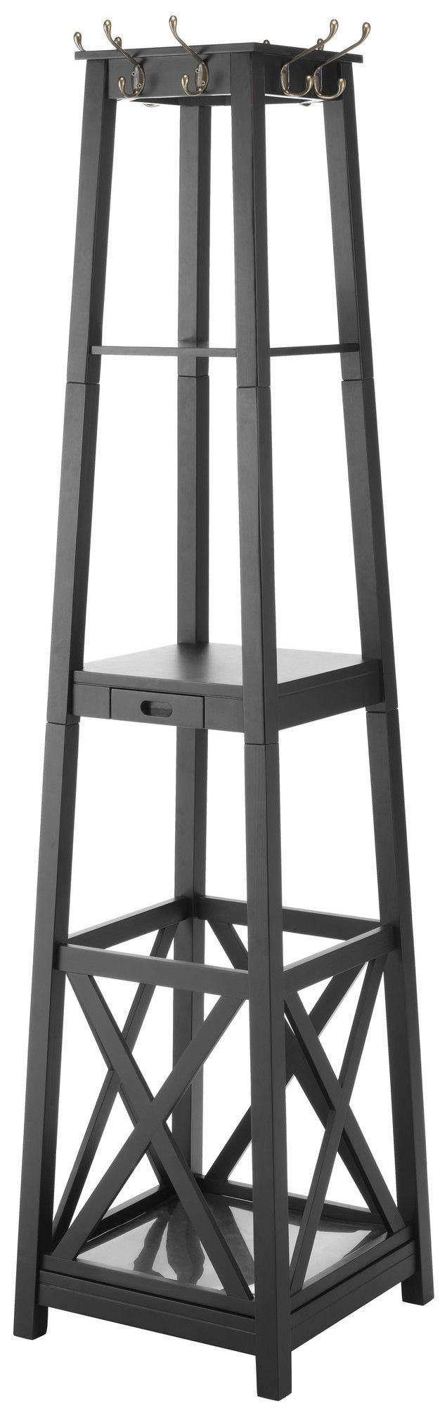 Features: -Includes 8 coat and hat hooks, an umbrella stand, 3 shelves and a…