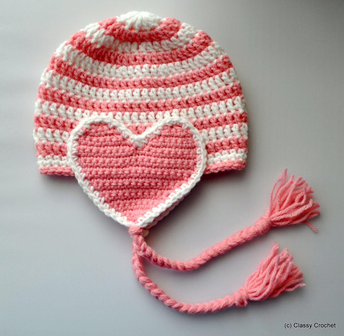 Free Pattern: Crochet Valentine Heart Earflap Hat | baby/toddler ...
