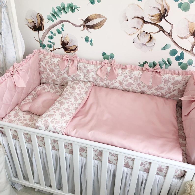 Baby Girl Bedding Crib Set, Blush Pink Baby Bedding