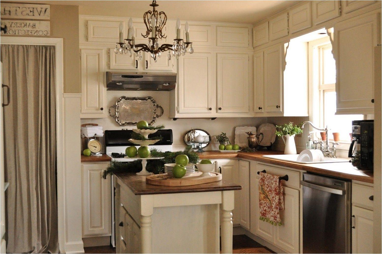 kitchen cream cabinets wood countertop - Google Search ...