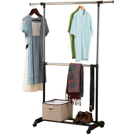 Mainstays Adjustable 2 Tier Rolling Garment Rack Adjustable Design Walmart Com Garment Racks Rolling Garment Rack Clothing Rack