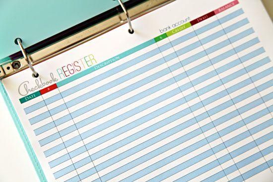 Our Budget Binder Checkbook register, Binder and Organizing - check register template