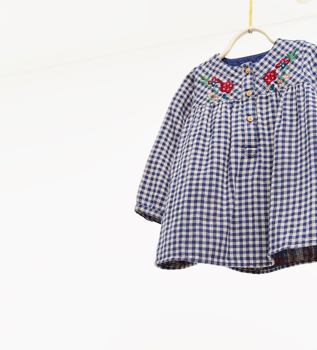 2a59024a3e8 ZARA - ΠΑΙΔΙΚΑ - Καρό φόρεμα με κεντήματα   girly   Zara kids ...