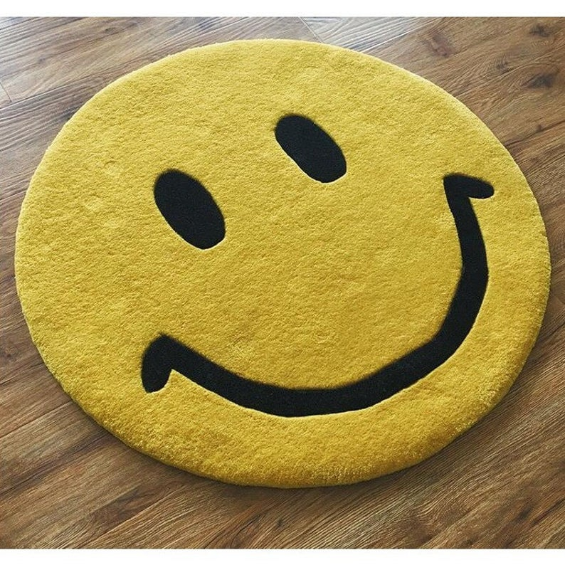 Smiley Face Emoji Mat Happy Face Smiling Rug Smiling Mat Available In 3 Sizes Thick And Plush Gifts Dessert Makers Gifts For Women