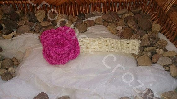 Girls Crochet Rose Headband by crochetcraziehand on Etsy