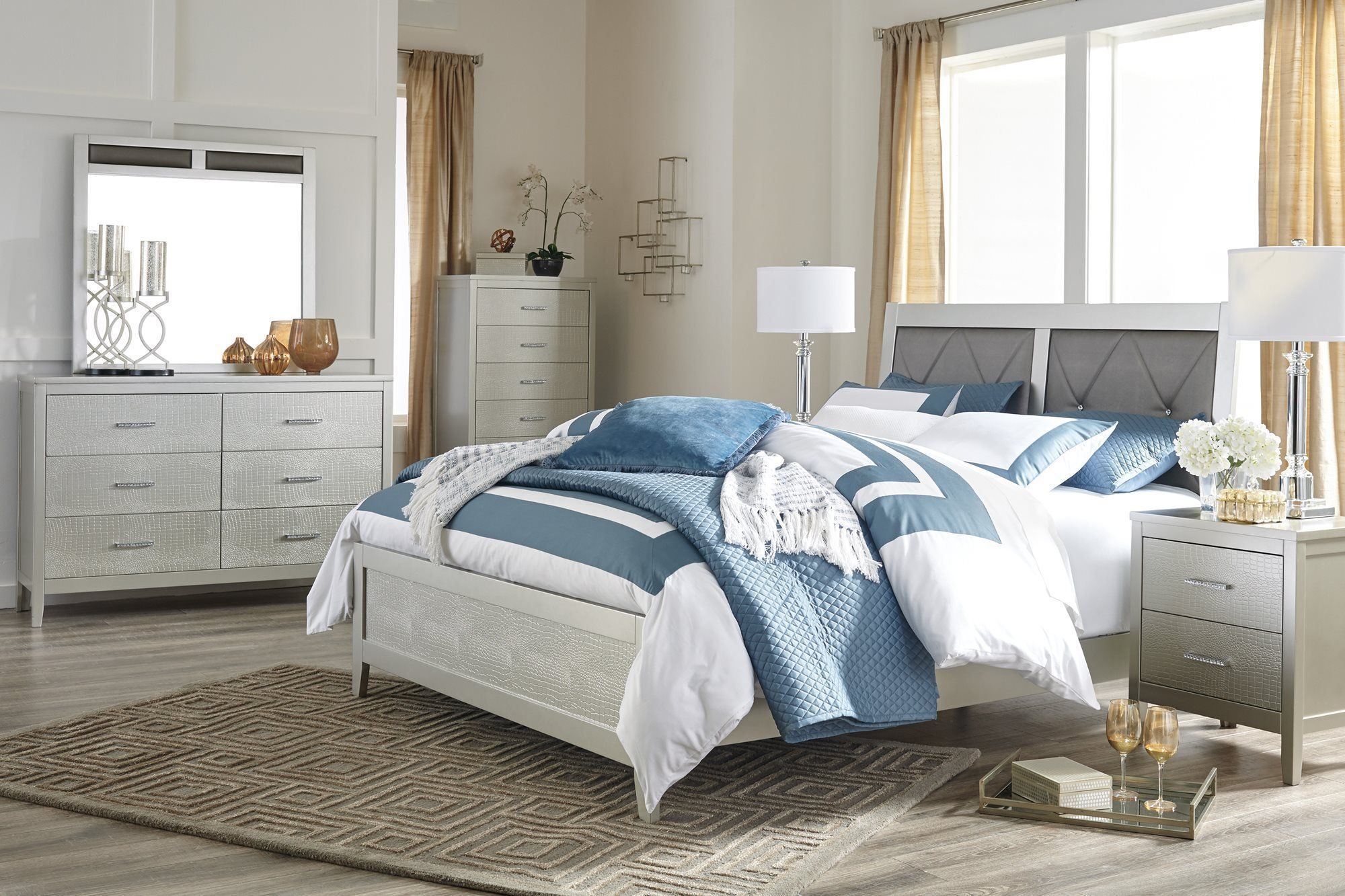 Ashley Olivet 4PC Bedroom Set Full Panel Bed One