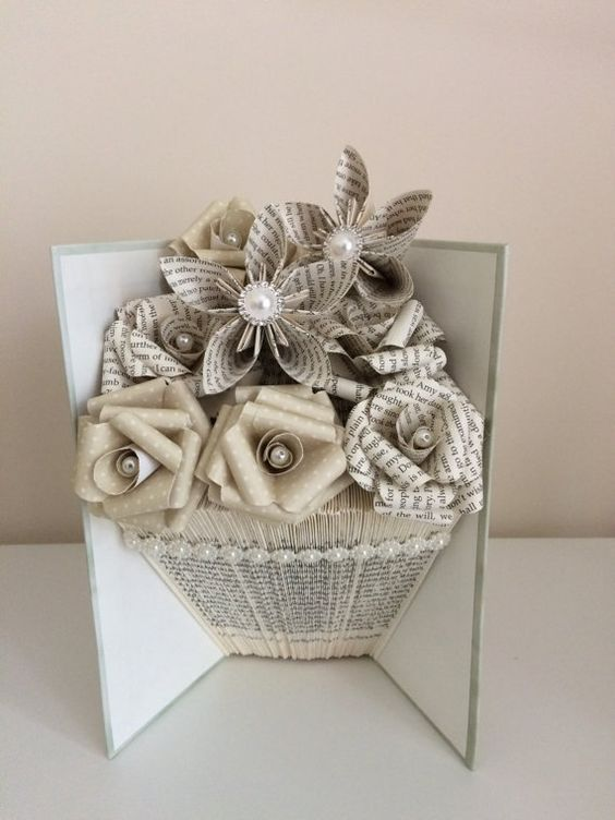 Folded book art vase shape with paper flowers book pages folding folded book art vase shape with paper flowers more mightylinksfo