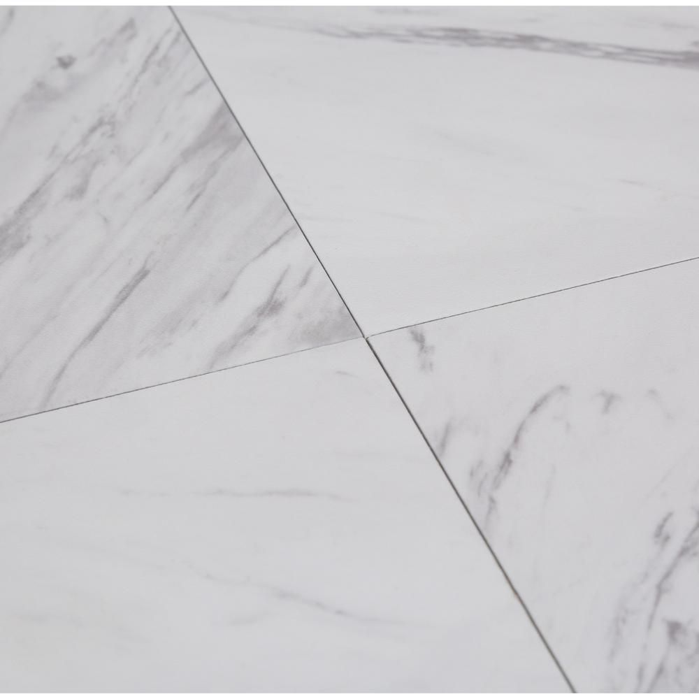 Trafficmaster Carrara Marble 12 In X 12 In Peel And Stick Vinyl Tile 30 Sq Ft Case Ss1212 The Home Depot Vinyl Tile Marble Vinyl Carrara Marble