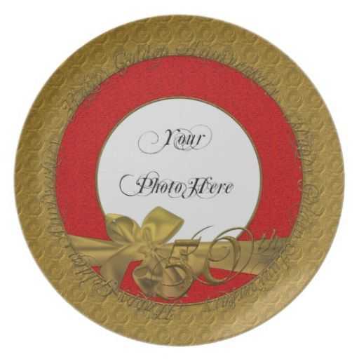 Happy Golden Anniversary Photo Plate Red #zazzle #plates #anniversary # golden #red  sc 1 st  Pinterest & Happy Golden Anniversary Photo Plate Red #zazzle #plates ...