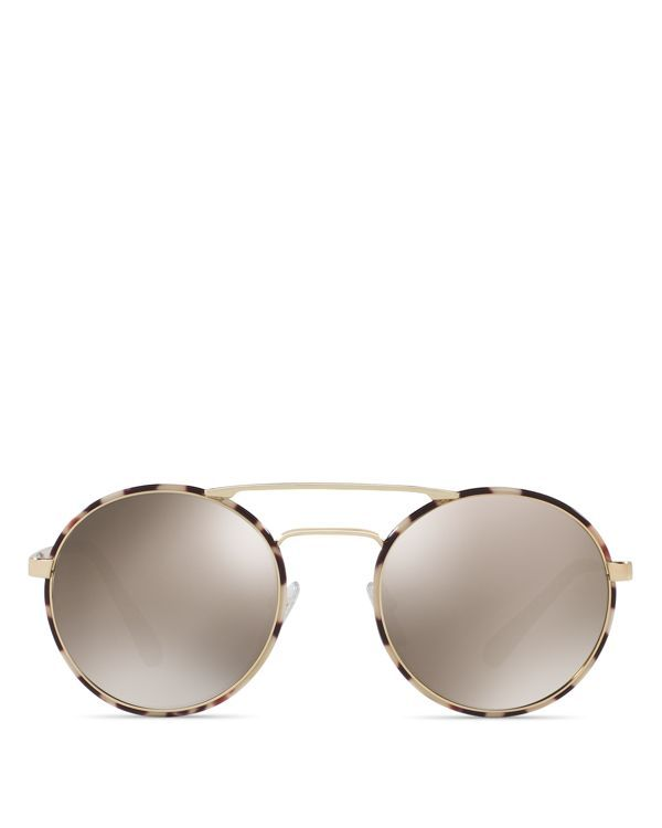32c651d96cd9 Prada Catwalk Round Mirrored Sunglasses, 54mm | Made in Italy | 100% UV  protection | Logo at lens corner and temples | Lens width: 54 mm | Bridge  width: 22 ...