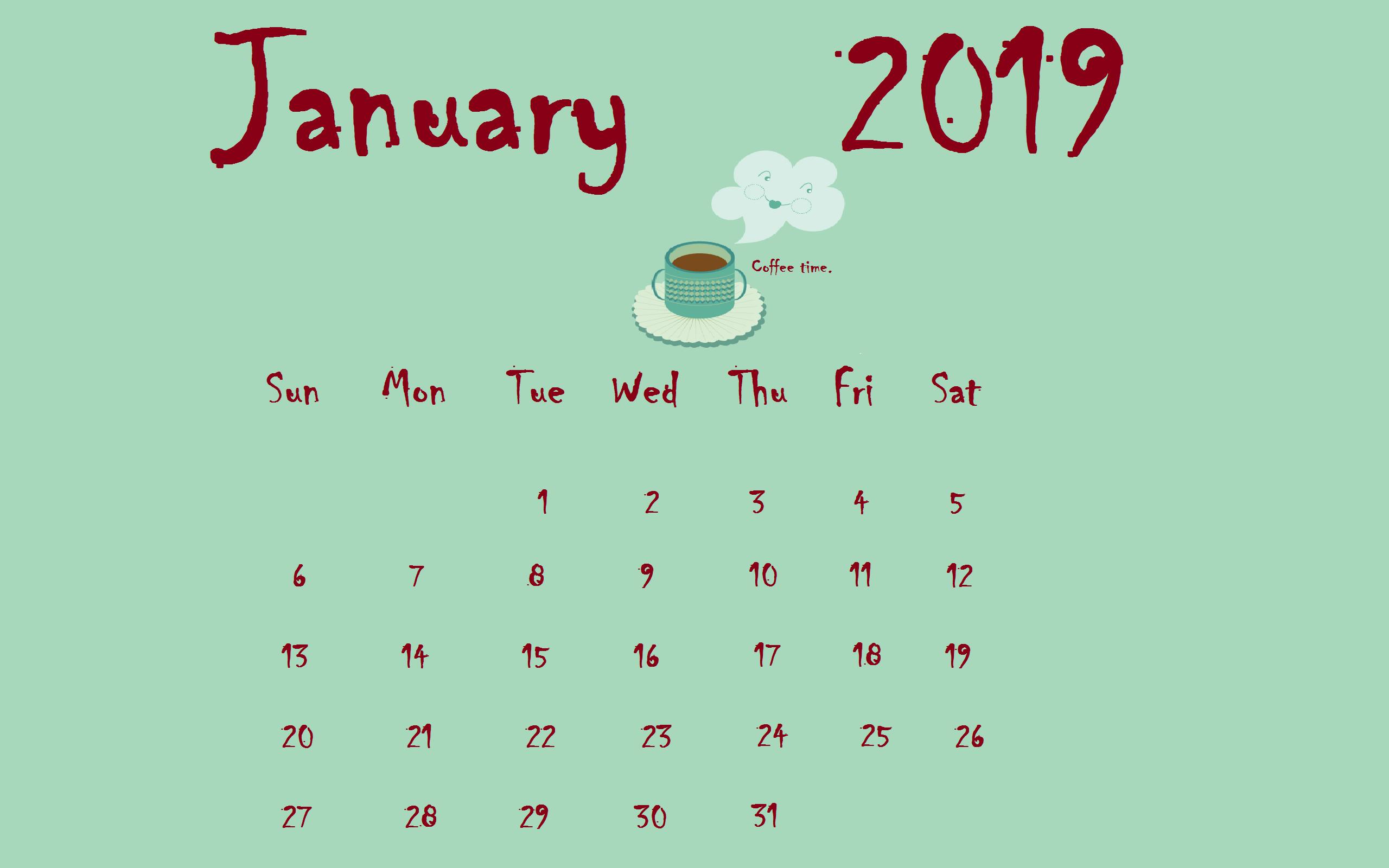 Download January 2019 Desktop Calendar Calendars In 2019
