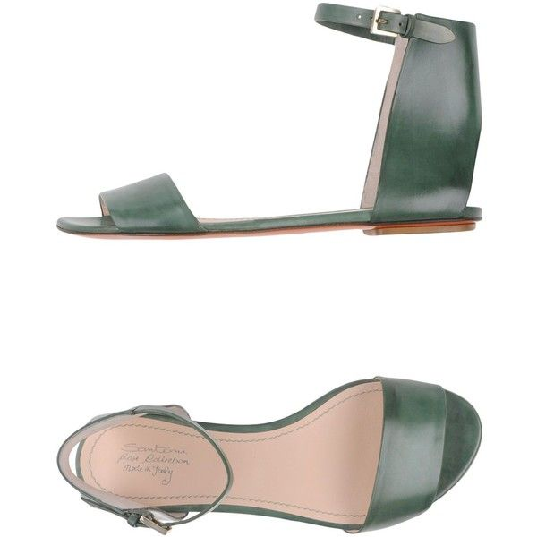 Santoni Rose Sandals (€255) ❤ liked on Polyvore featuring shoes, sandals, emerald green, ankle strap flat sandals, flat shoes, ankle strap flat shoes, leather sole shoes and leather flat shoes