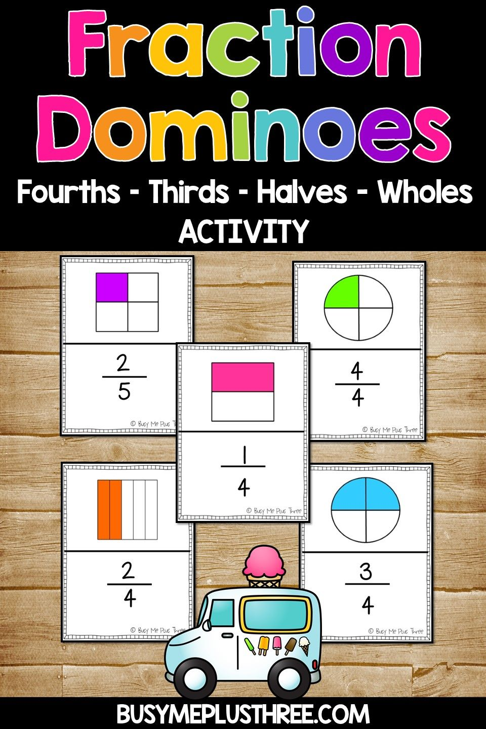 Fraction Dominoes Game Fourths Thirds Halves Wholes Fun Fractions Activity Games For Kids Fun Fractions Activities