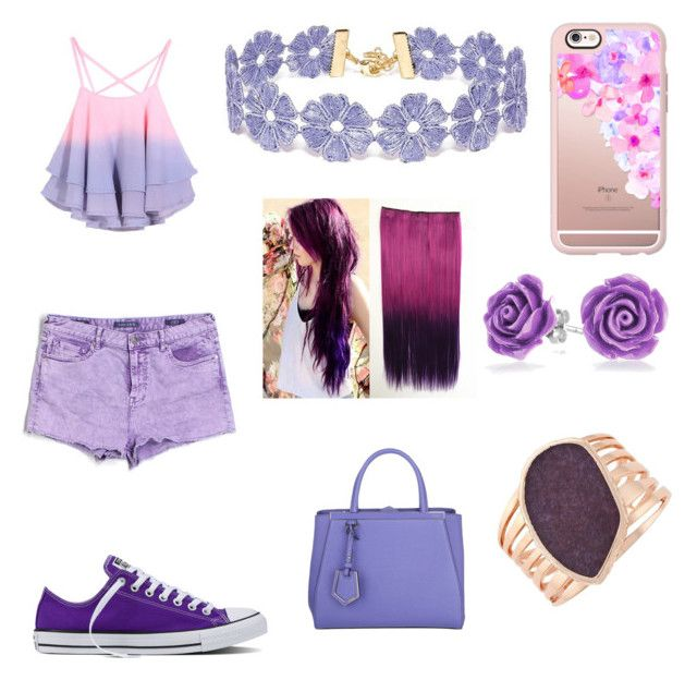 """Purple school"" by jayde-brooks ❤ liked on Polyvore featuring Converse, Vigoss, BaubleBar, Casetify, Fendi, Bling Jewelry and Vince Camuto"