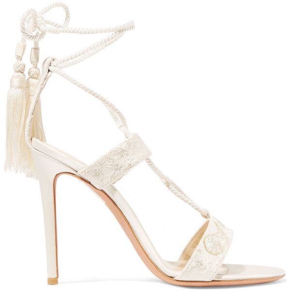 Buy Special Price Etro Embroidered lace and satin sandals Ivory lace satin Women