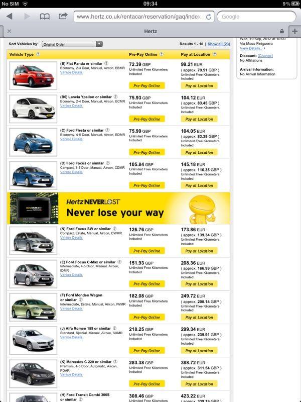 Car Hire - Hertz | Car hire, Pre paid, Italy travel