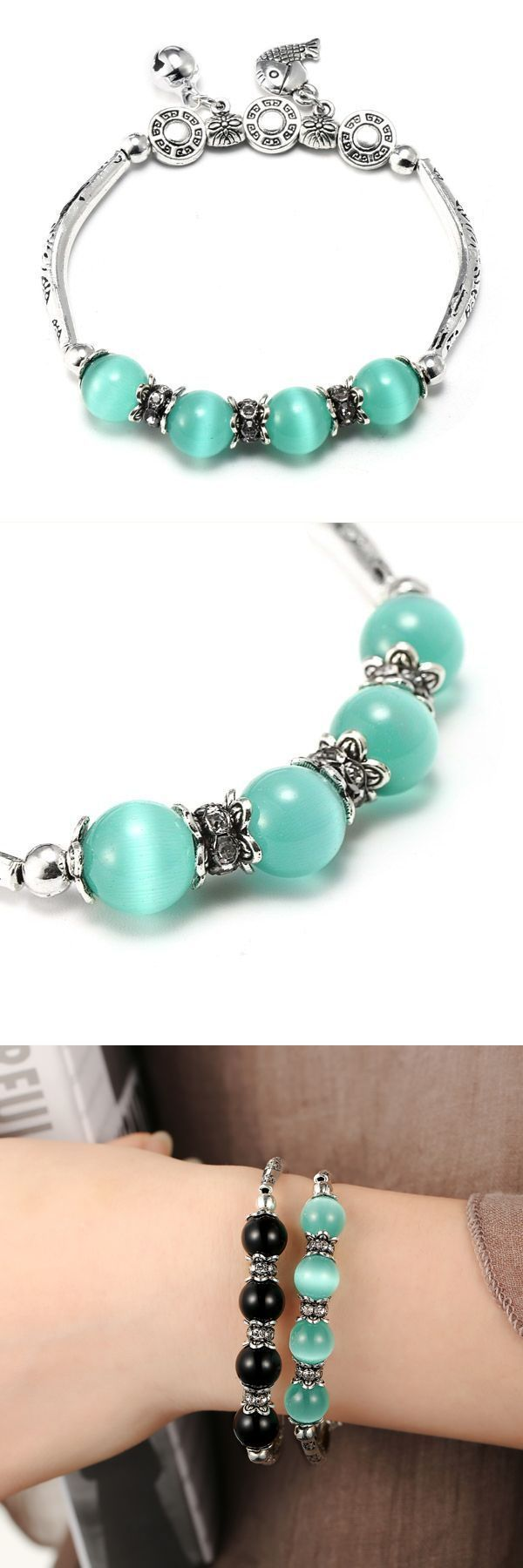 Elastic silver hollow carved crystal pendant bead abacus bracelet