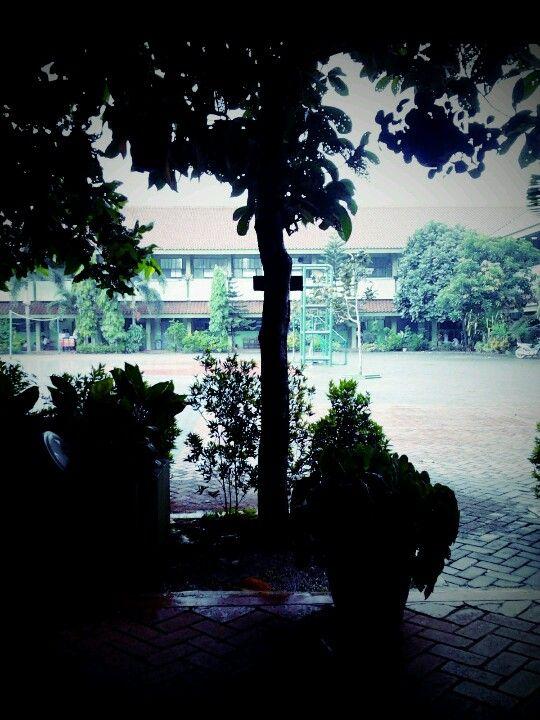 Rainy day in school