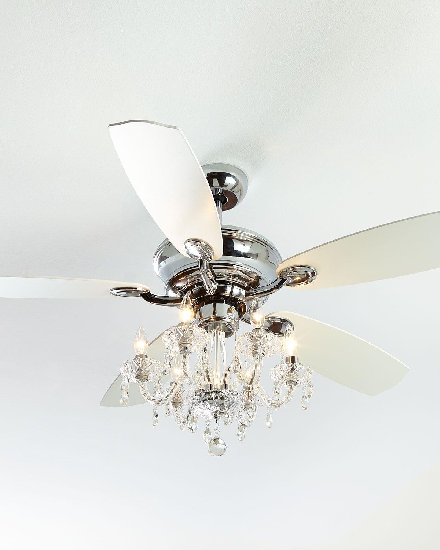 White Chandelier Ceiling Fan: Julianne White Fandelier 52D