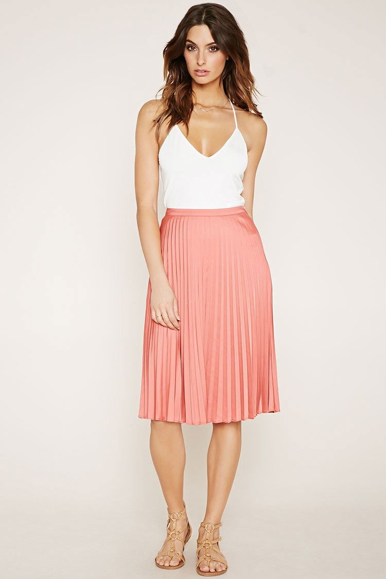 9366f0e290 Forever 21 Contemporary - This satin woven skirt features sharp accordion  pleats and a concealed side zipper.