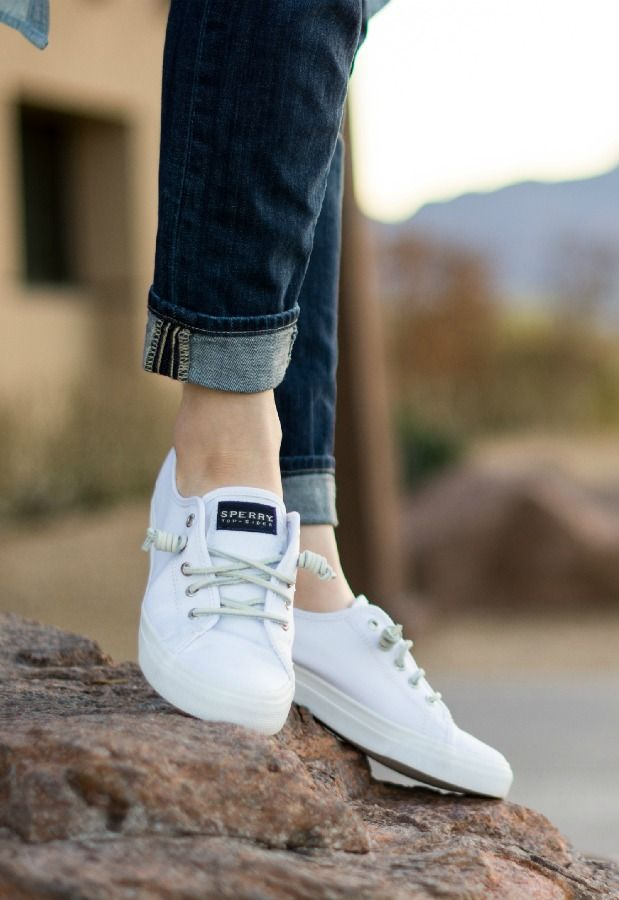 9257f50170ae6e The perfect spring and summer shoe   Sperry White Seacoast canvas sneaker  I m SO buying these!