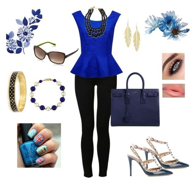 London Blue by happyface7 on Polyvore featuring polyvore, fashion, style, Forever New, Noisy May, Valentino, Yves Saint Laurent, Effy Collection, Kate Spade, Anita Ko, Summer, ootd and Peplum