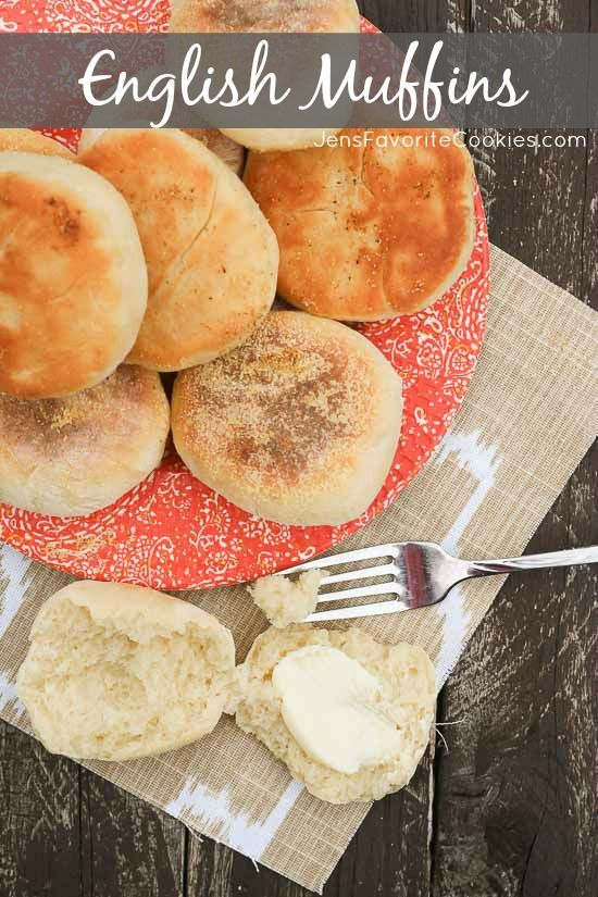 English Muffins from JensFavoriteCookies.com - these easy homemade English muffins are so flavorful, and make great breakfast sandwiches!