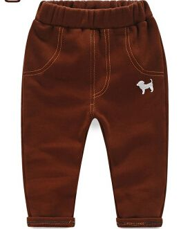 2016 autumn winter children's clothing boy pants baby dog  plus thick fleece pants for boys kids clothes causal long trousers