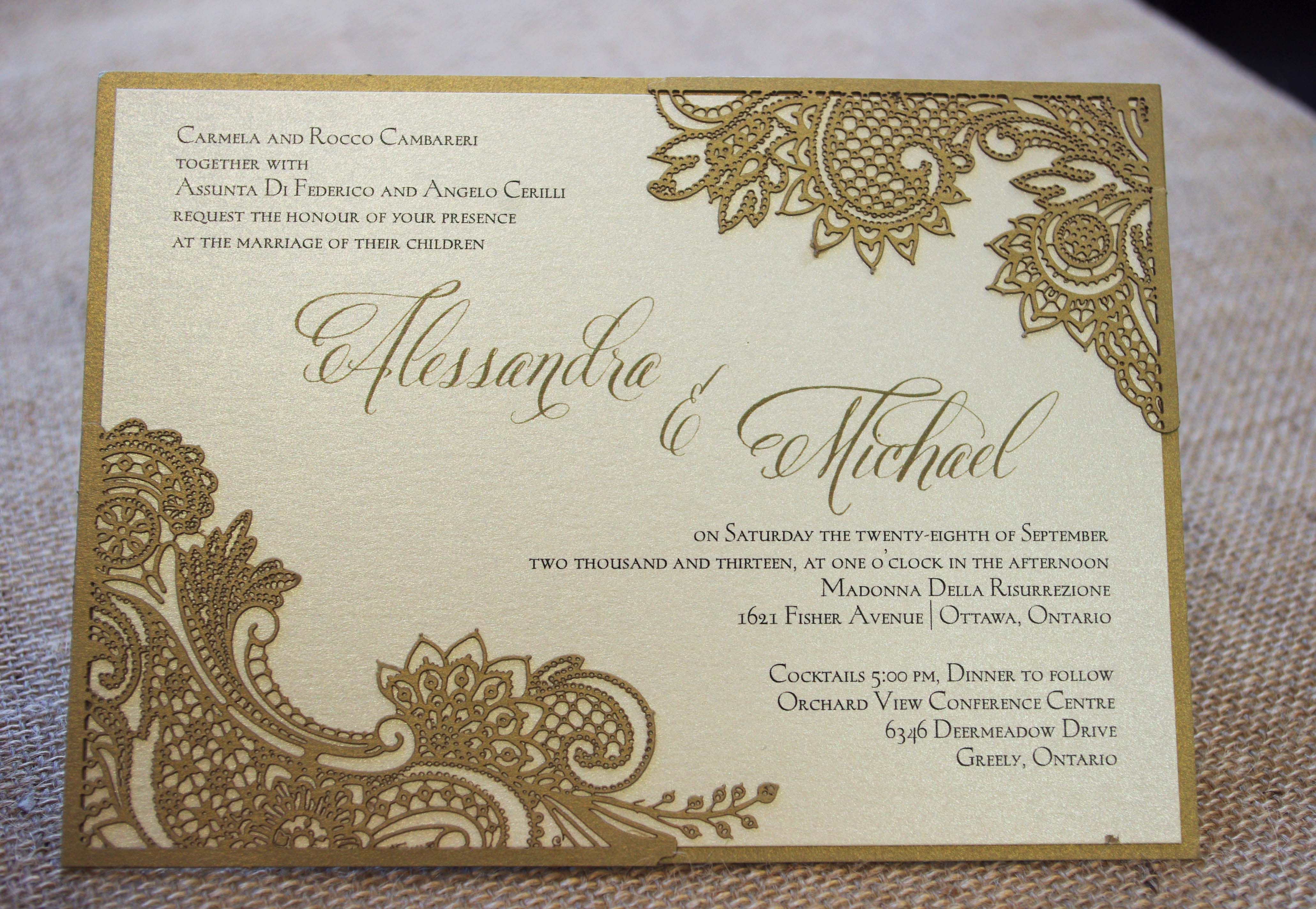Adding a laser cut lace pattern to the corners of your invitation ...