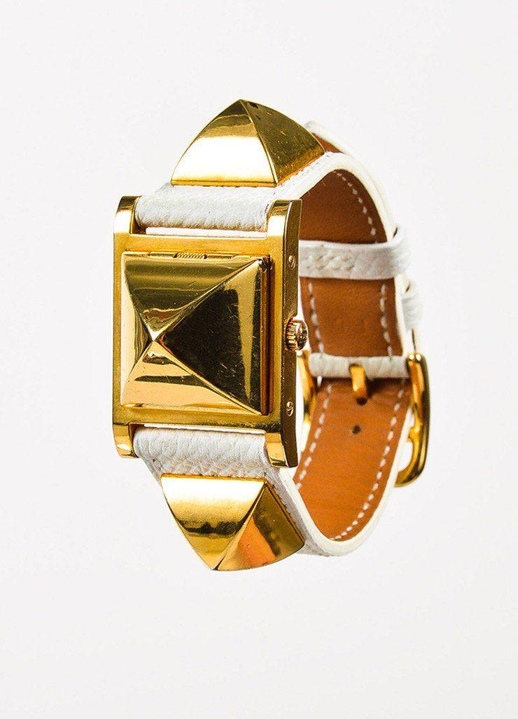 Hermes White Gold Plated Epsom Leather Studded