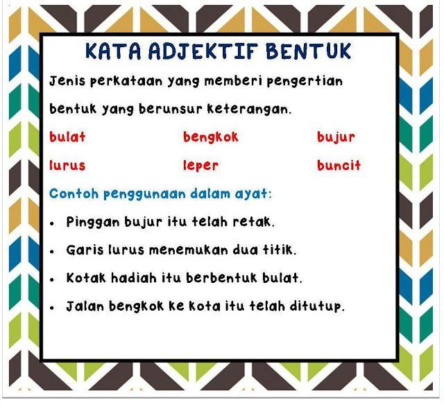 Kata Sifat Adjektif I Nota Bahasa Malaysia Learning Education Event