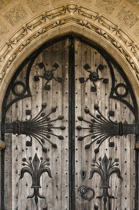 Decorative ironwork on the wooden door of St Maryu0027s Church a Victorian creation by William Burges built in 1871 - at Studley Royal Water Garden ... & Decorative ironwork on the wooden door of St Maryu0027s Church a ...