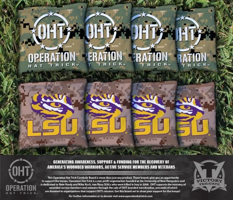 LSU Tigers Operation Hat Trick Team Logo Cornhole Bag Set