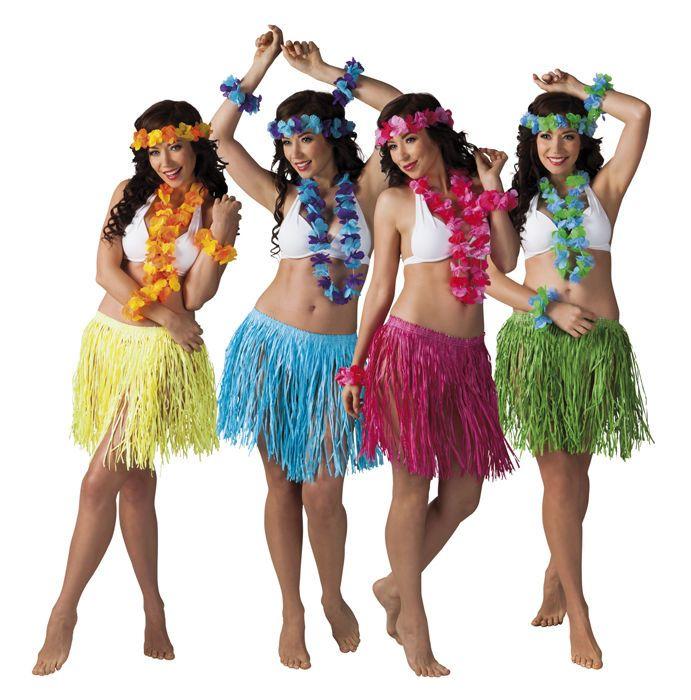 f6cc3d19661 LADIES HAWAIIAN HULA FANCY DRESS COSTUME GRASS SKIRT GARLAND WRISTBANDS  HEADBAND