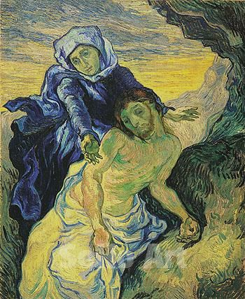 Vincent van Gogh | Pietà (naar Delacroix)/Pietà (after Delacroix), 1889, oil on canvas. There are two versions of the painting, both based on a lithograph by Nanteuil after a painting by Eugène Delacroix. Van Gogh painted it in 1889, during his confinement at the hospital in Saint-Rémy. Vincent Van Gogh Museum, Amsterdam, Musei Vaticani.