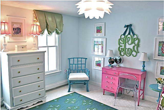 tween girls' bedroom reveal in pink, blue, and floral with built in bed and painted desk (and