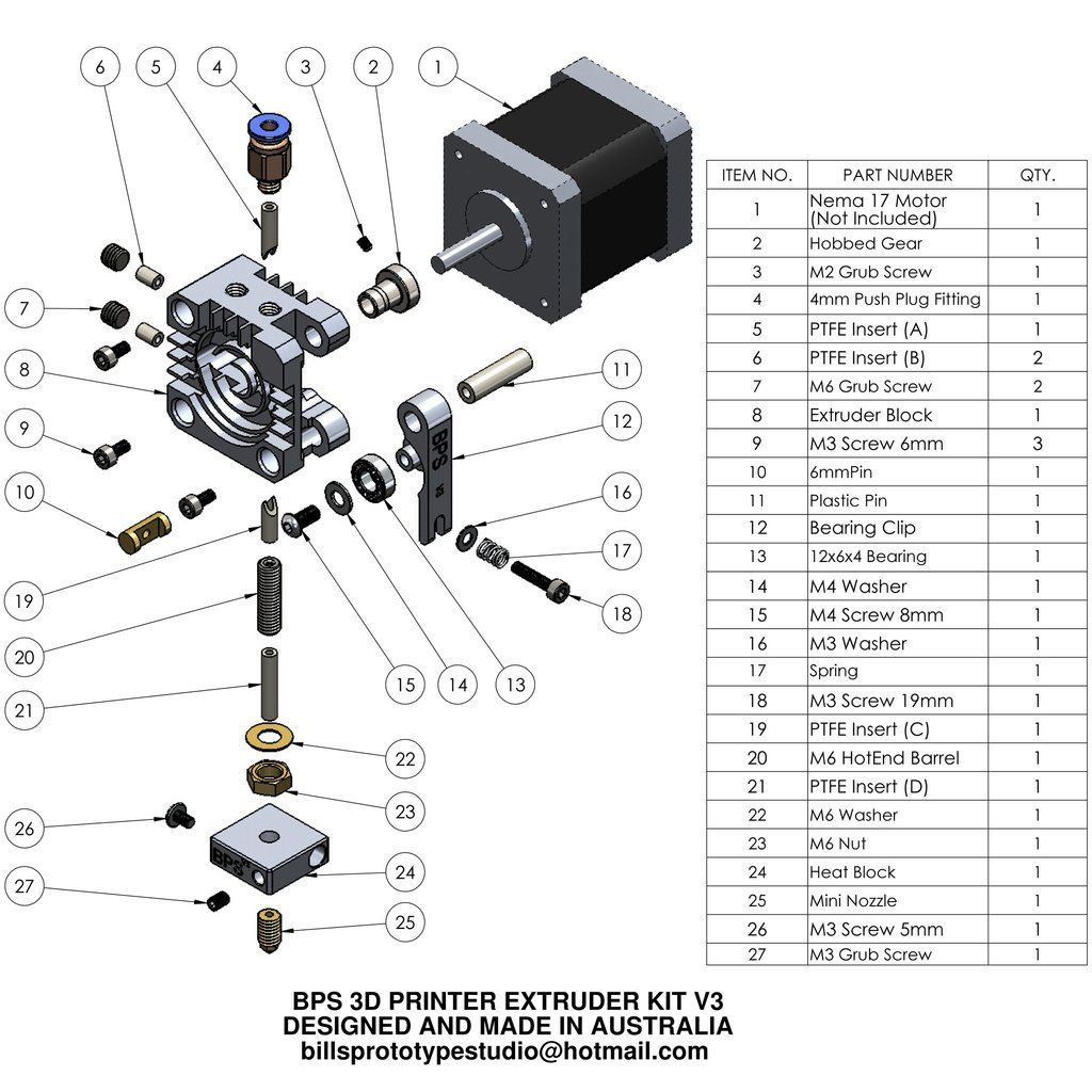 Bps 3d Printer Extruder Kit V3 3dprinter