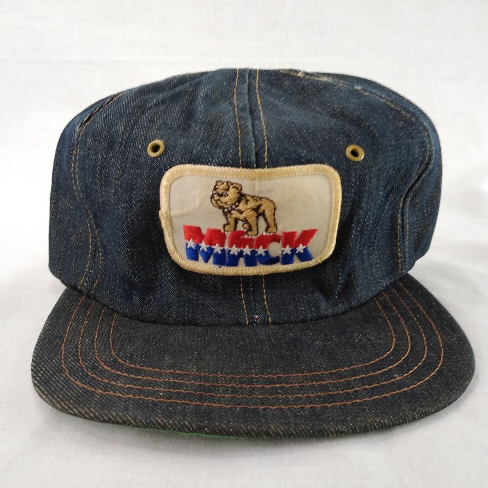 Vtg Mack Truck Denim Snapback Red White Blue Bulldog Patch Union Made in  USA  UnionMade  Cap 347a8b1d2e1